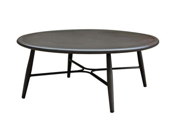 The Bolano coffee table in ash grey metal.