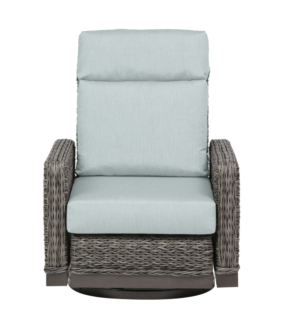 The Boston swivel recliner with Idol Frost color cushions.