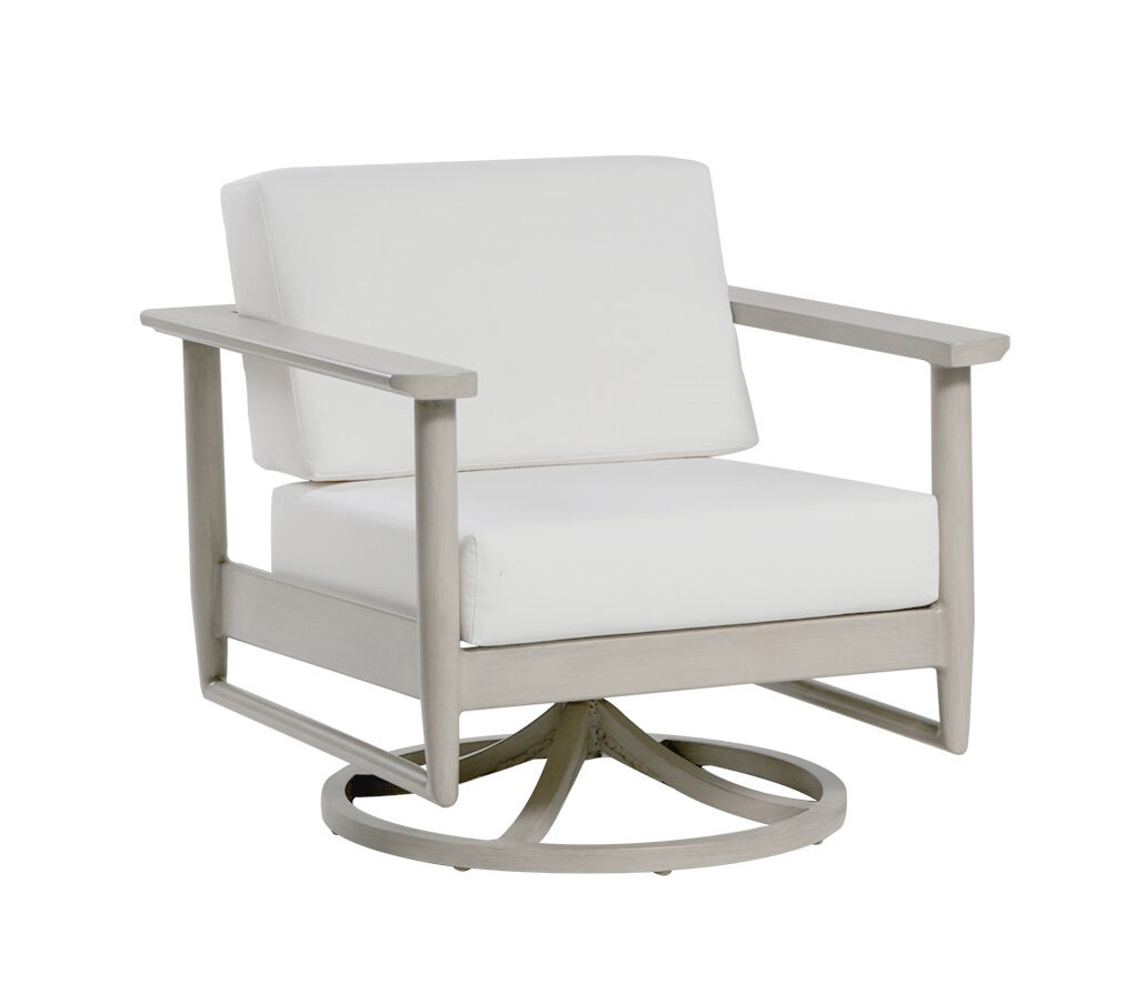 The Polanco swivel rocker chair by ratana with cream cushions.