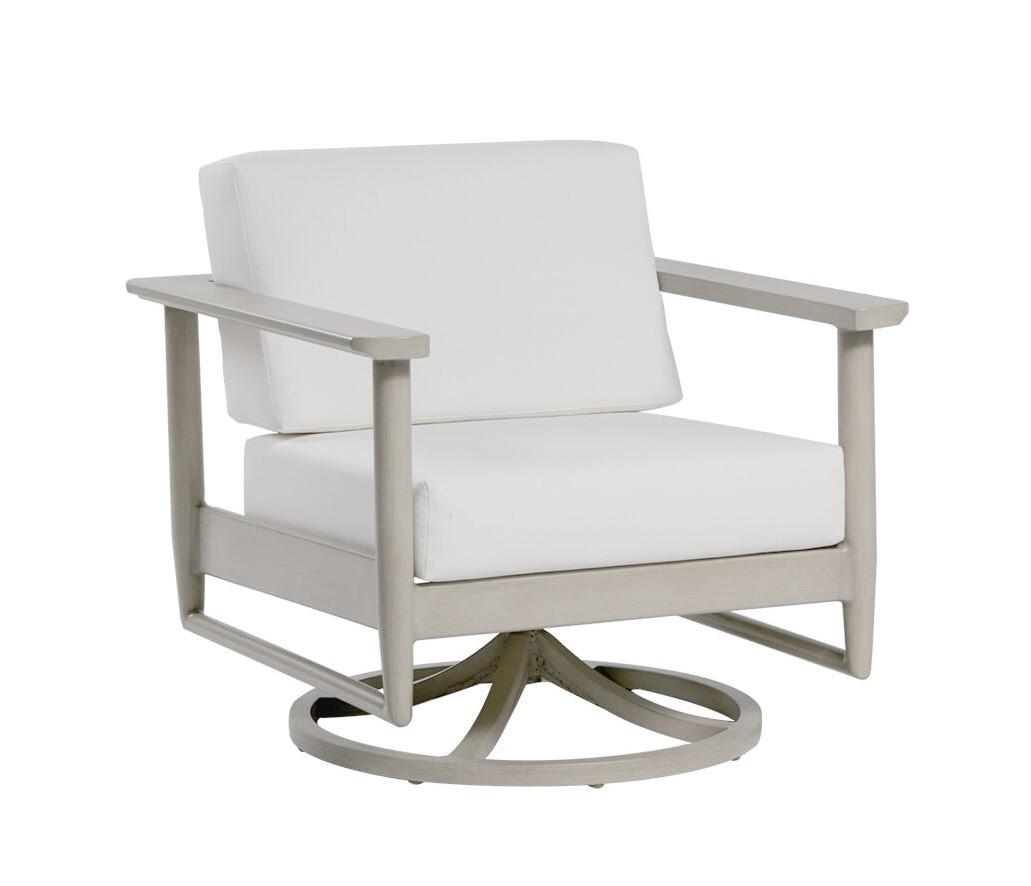 The Polanco swivel rocker chair by ratana with cream cushions.