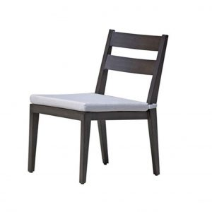 Lucia dining side chair in dark metal frame with light grey cushion.