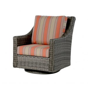 A high back swivel rocker patio chair in grey wicker resin, with striped orange and tan colored cushions.
