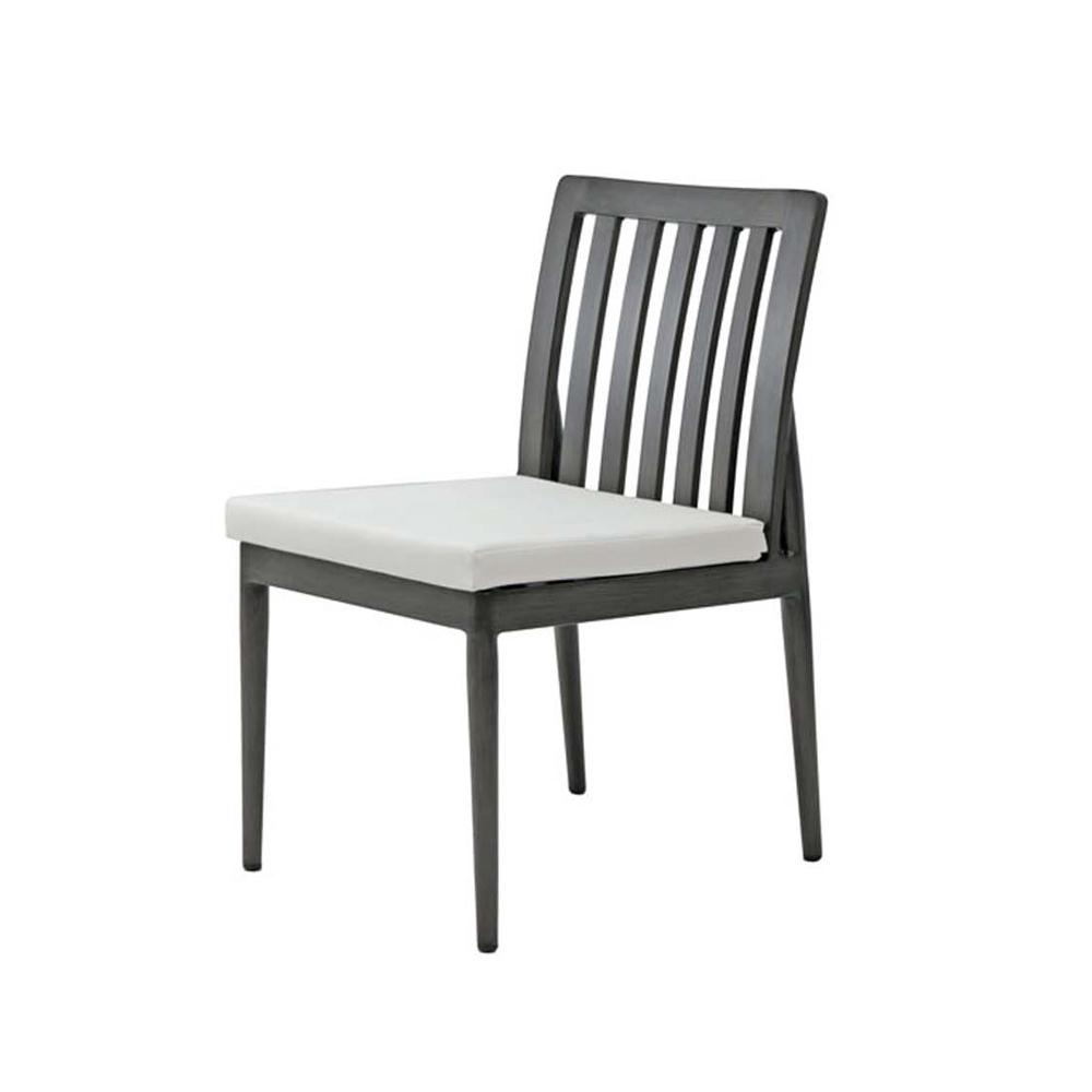 Bolano dining side chair in grey metal frame with cream seat cushion.