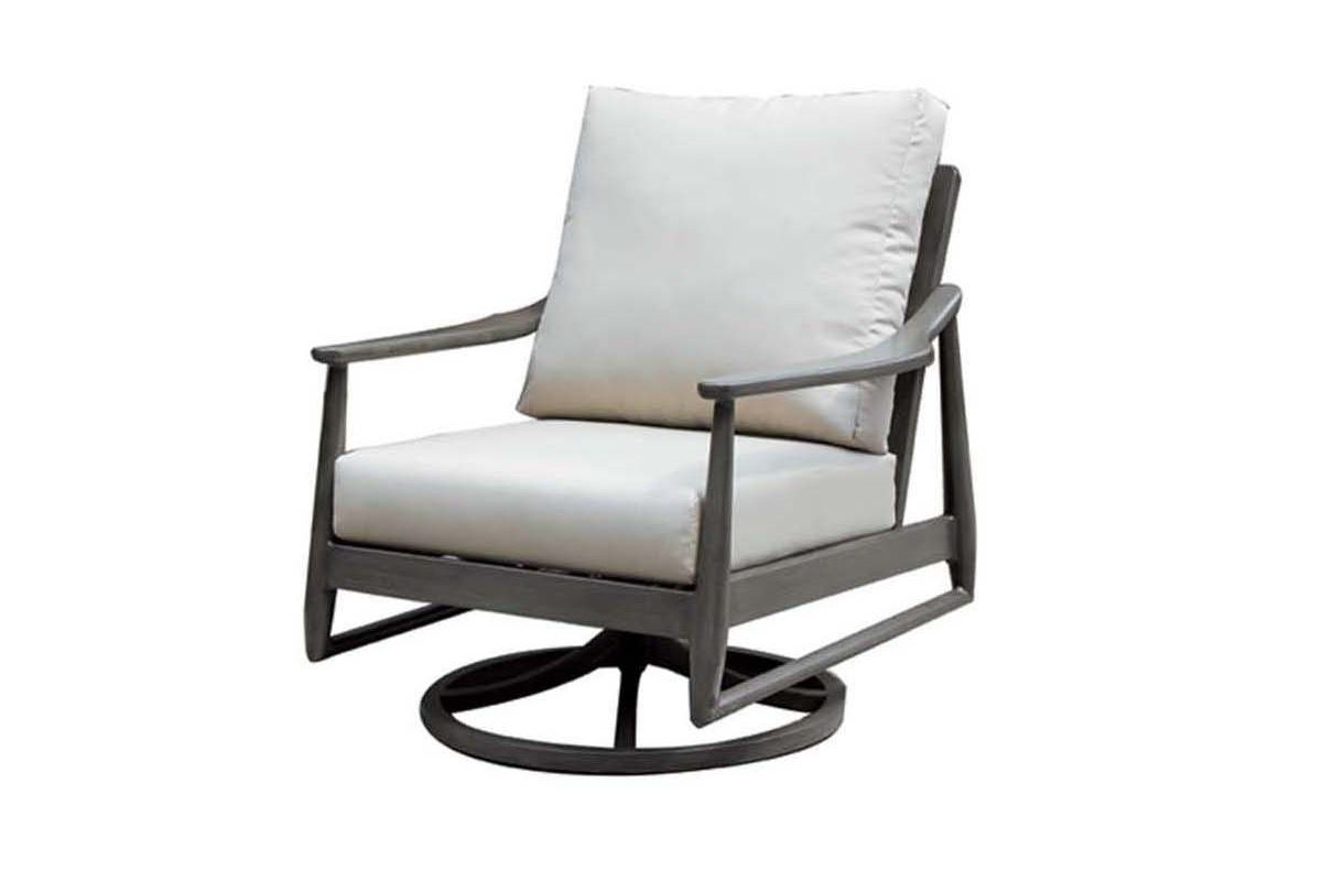 Bolano Swivel Rocker in brown metal frame with light beige cushions.
