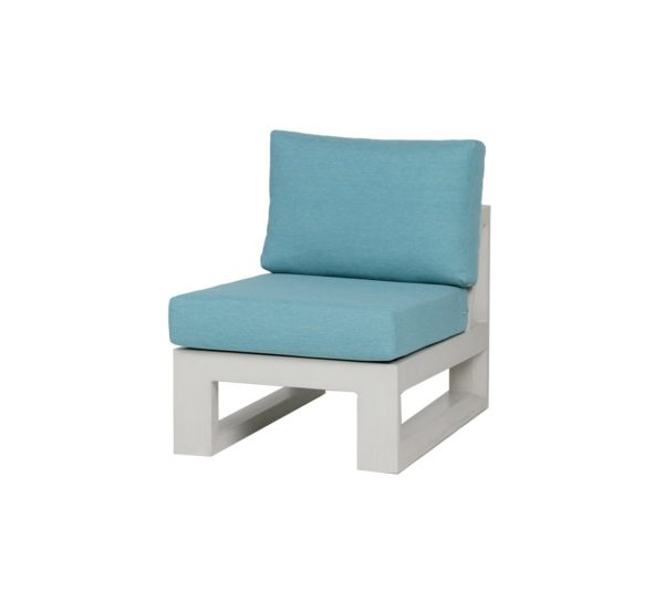 white frame patio chair with blue cushions.