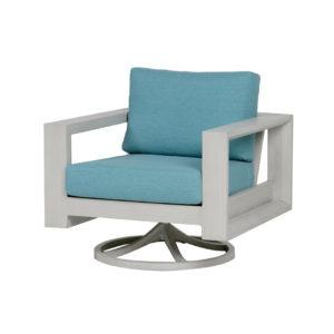 Element swivel rocker in white frame with aqua blue cushions.