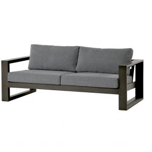 A modern looking dark grey metal frame patio sofa with grey cushions.