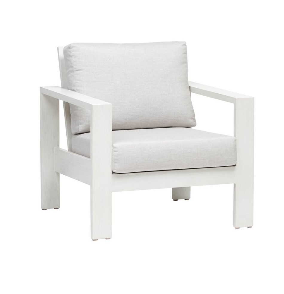 The Park Lane club chair in white frame with grey cushions.