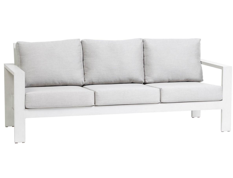 The Park Lane sofa Ratana in white frame with grey cushions.