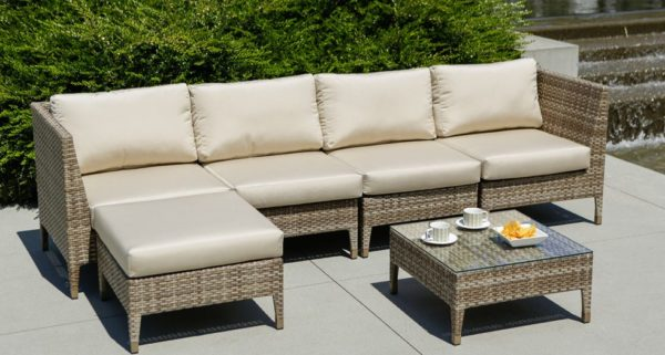 Tuscany sectional with ottoman and coffee table, beige cushions