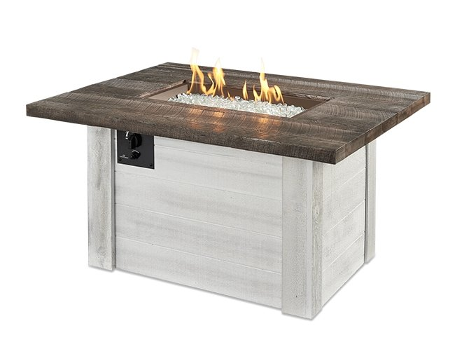 The Alcott gas fire table with flames on.
