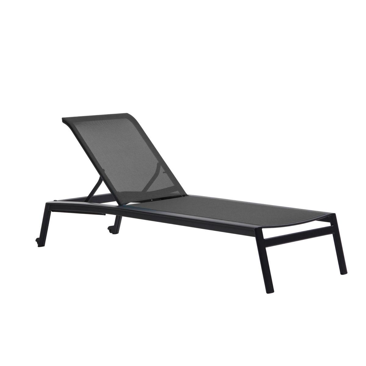 Lyon adjustable lounger in black.