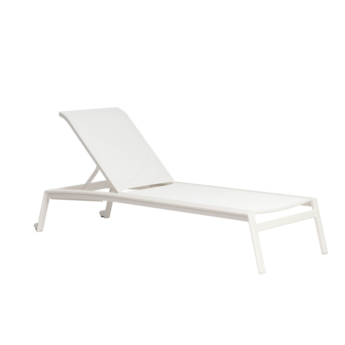 Lyon loungers by Ratana in white mesh.