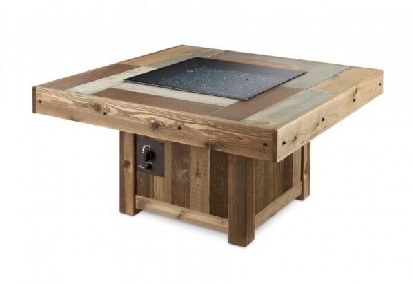 The Vintage square fire table with glass burner lid.