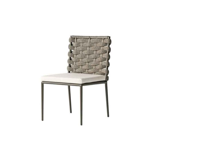 Bogota dining side chair with ligh colored seat cushions.