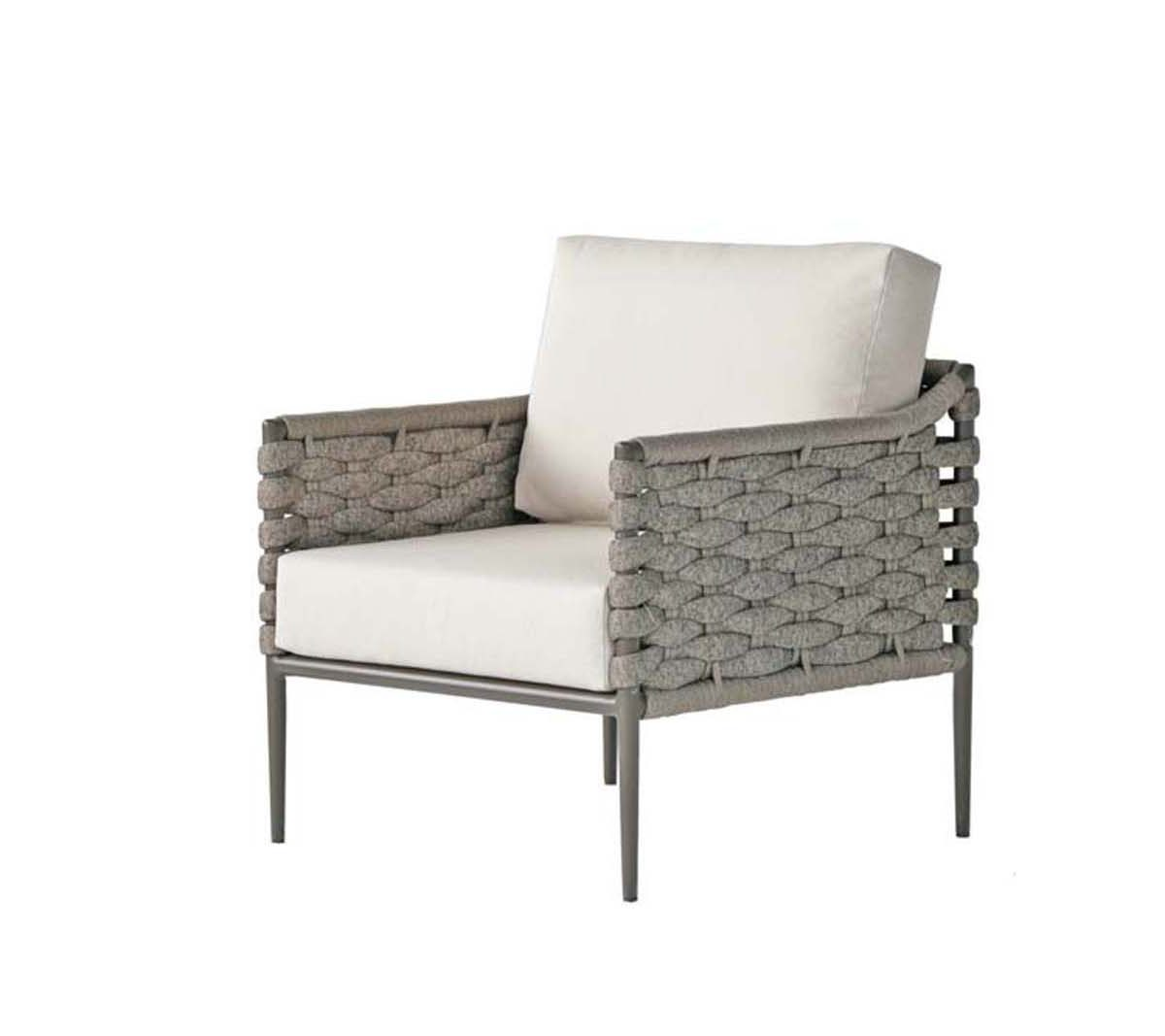 The Bogota club chair in grey rope weave and light colored cushions.