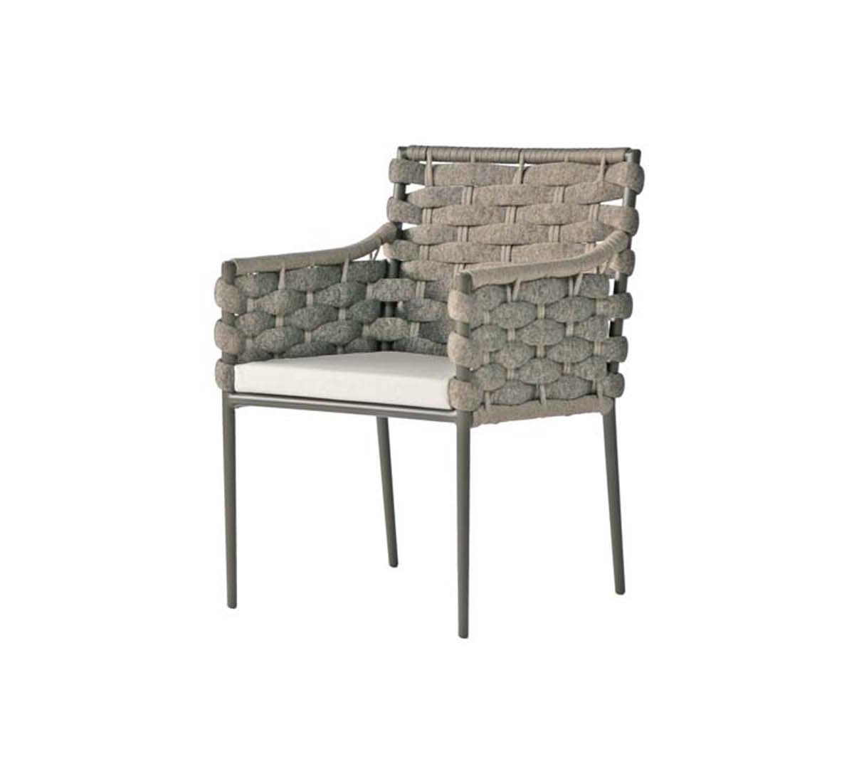 The Bogota dining arm chair in grey finish with light grey seat cushion.