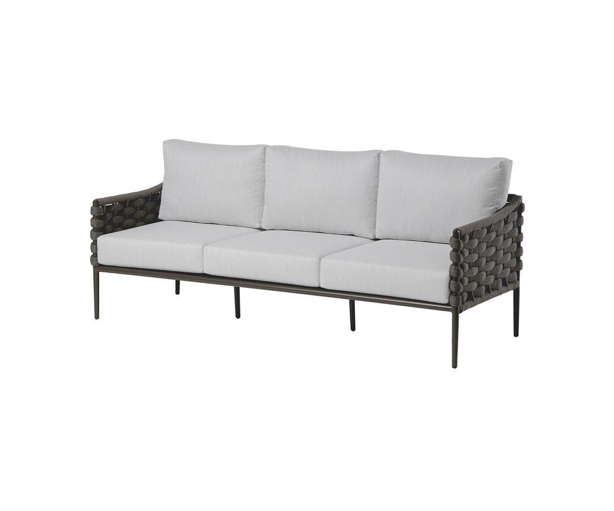 The Ratana Bogota sofa with light cream cushions.