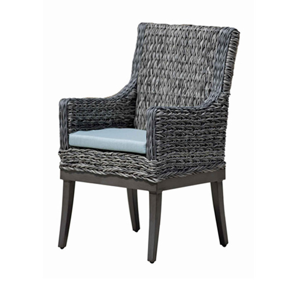 Boston dining arm chair in multi tone grey wicker with light blue seat cushion.