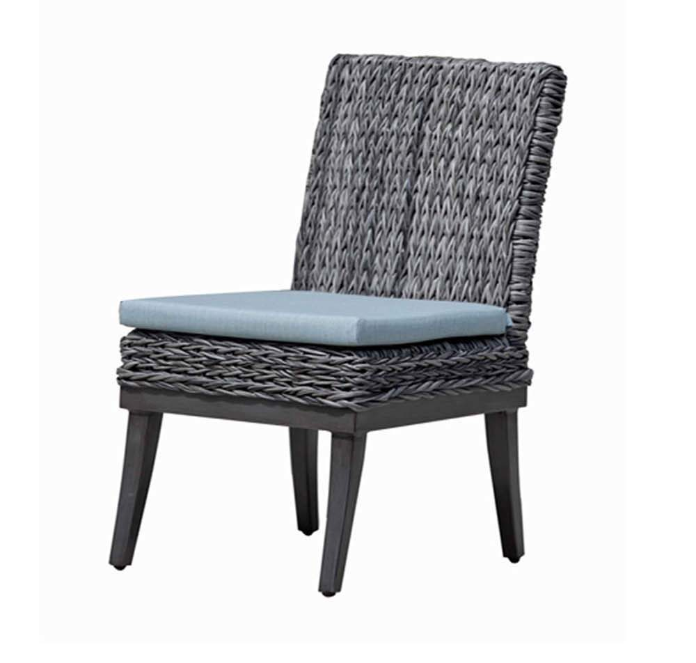 Boston dining side chair with metal legs and grey wicker resin finish.