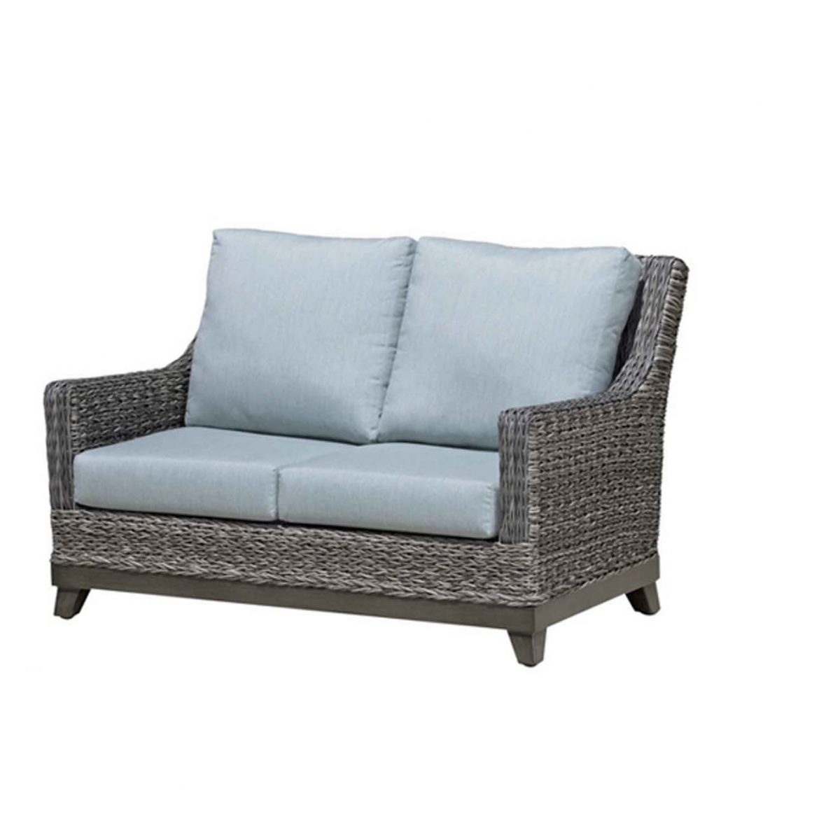 The Boston loveseat by Ratana in grey wicker with light blue cushions.
