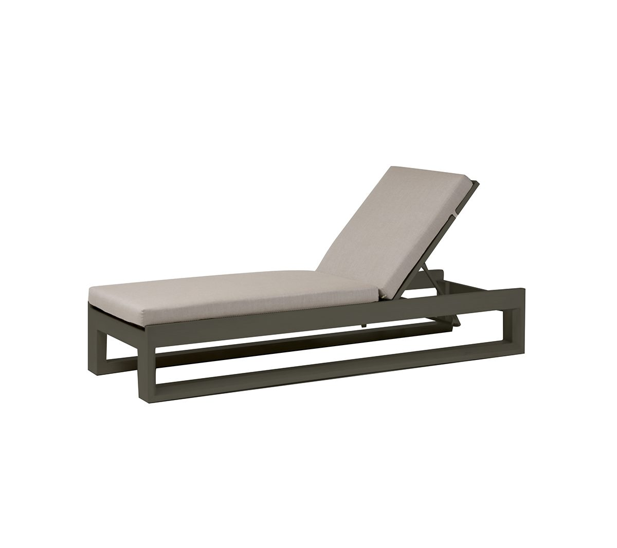 Metal frame Element 5.0 lounger with light grey cushion