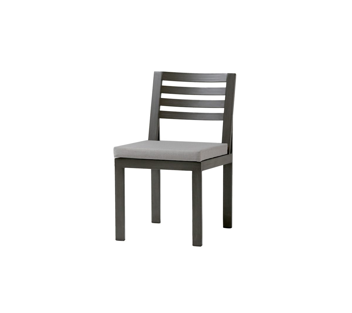 Element dining side chair in ash grey with cream seat cushion.