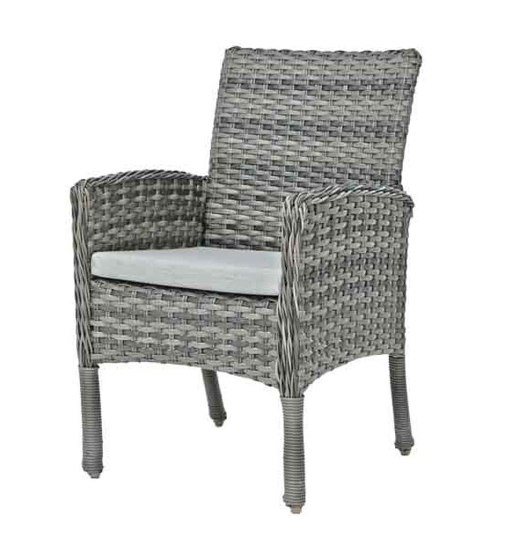 Isola Island dining arm chair in mutli color grey wicker resin.