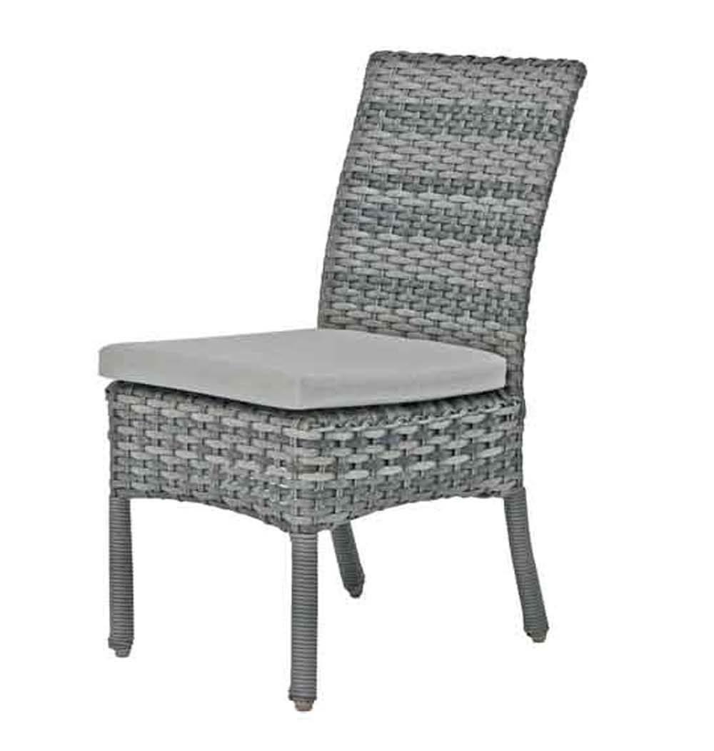 Isola Island dining side chair in grey tone wicker.