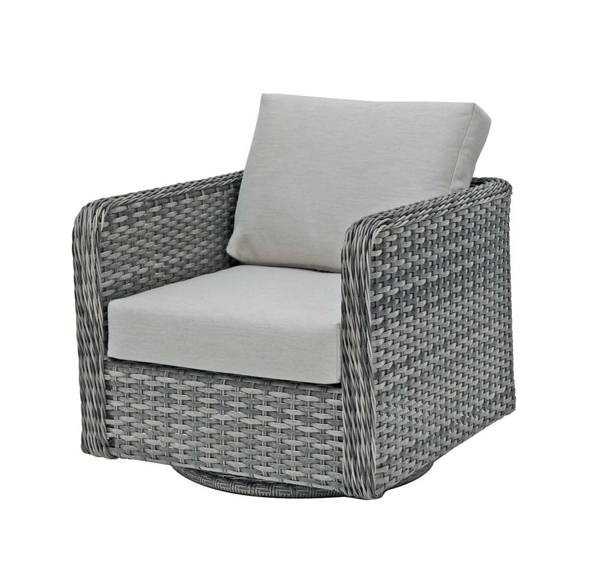Multi color grey wicker with a light grey cushion, the Isola Island swivel gliding club chair.