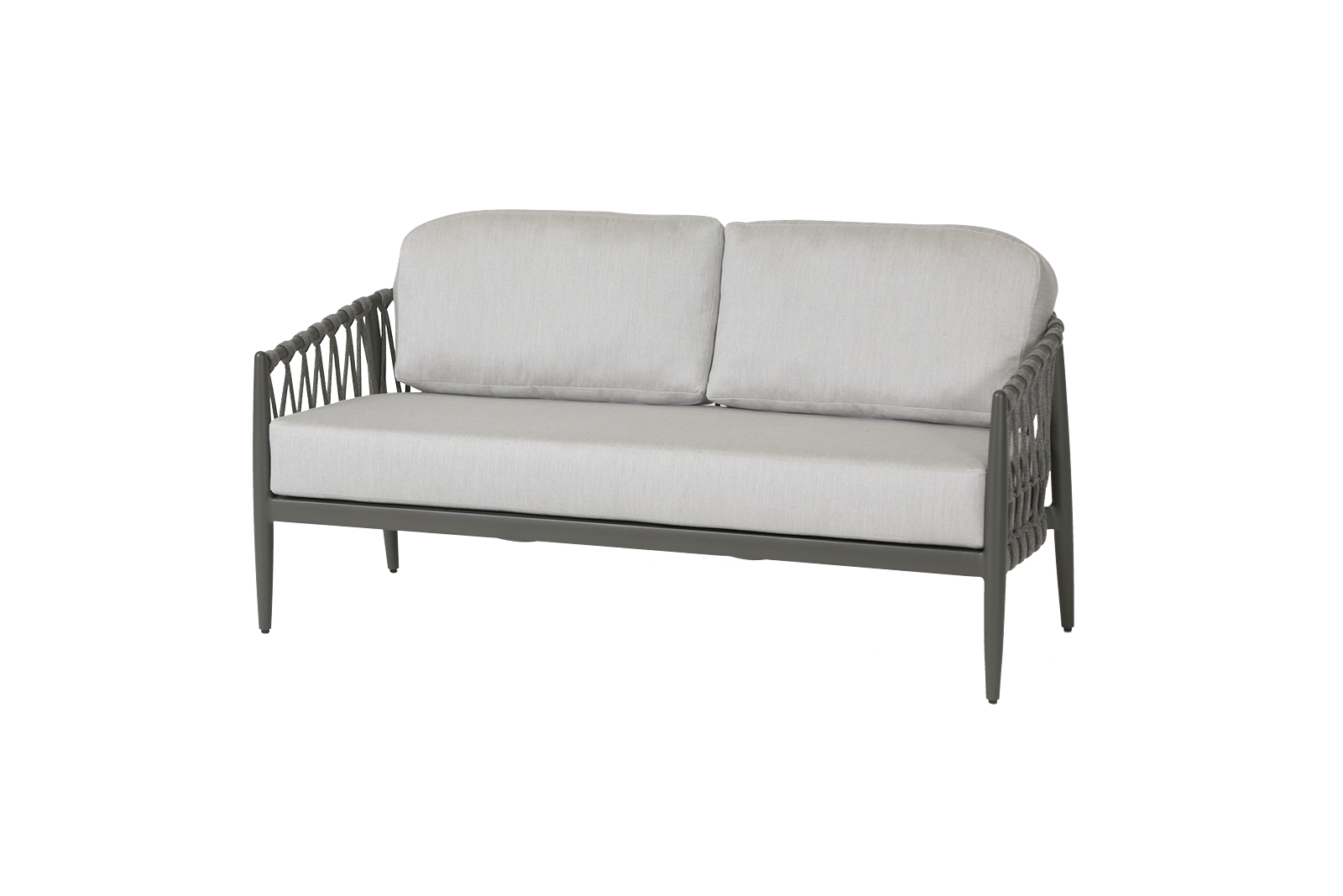 Lamego 2.5 seater sofa with rope design frame and light color cushions.