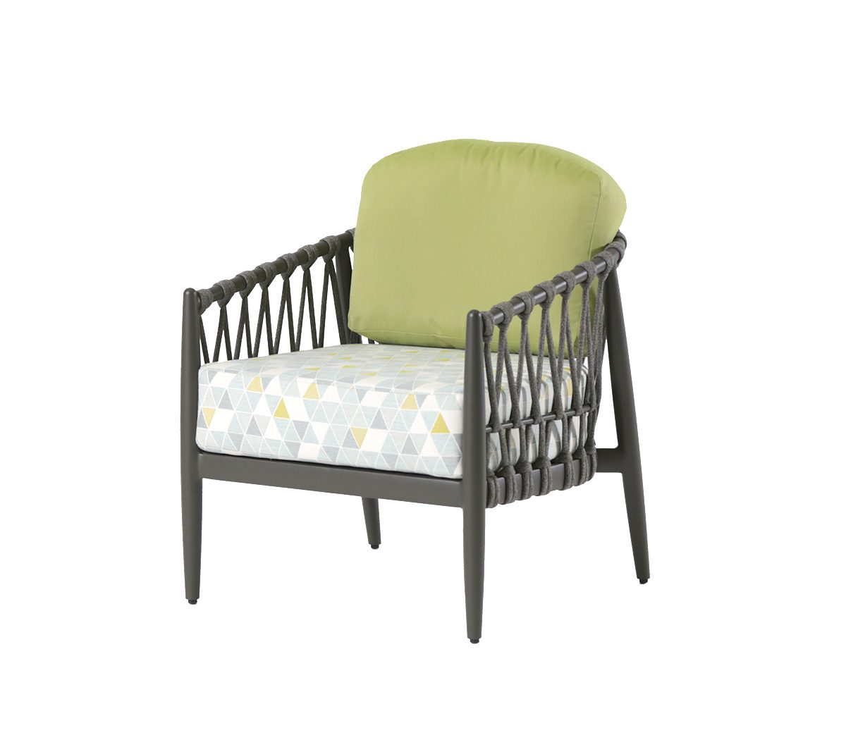 The Lamego club chair with patterned seat cushion and green back cushion.