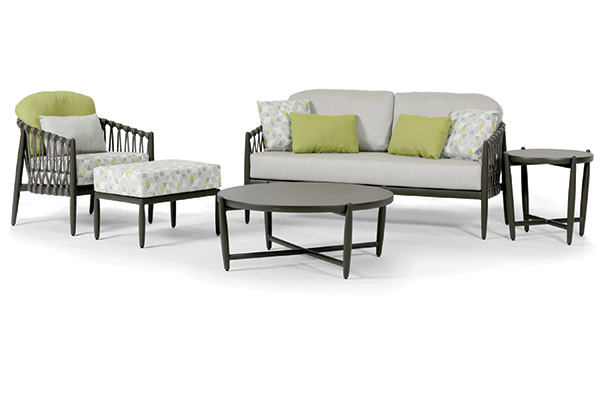 Five piece Lamego patio set, light color cushions with green accent pillows