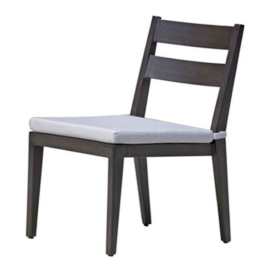 Lucia dining side chair in dark metal frame with light grey seat cushion.
