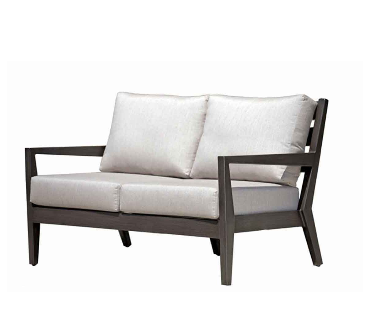 Ratana Lucia love seat in dark metal frame with light grey cushions.
