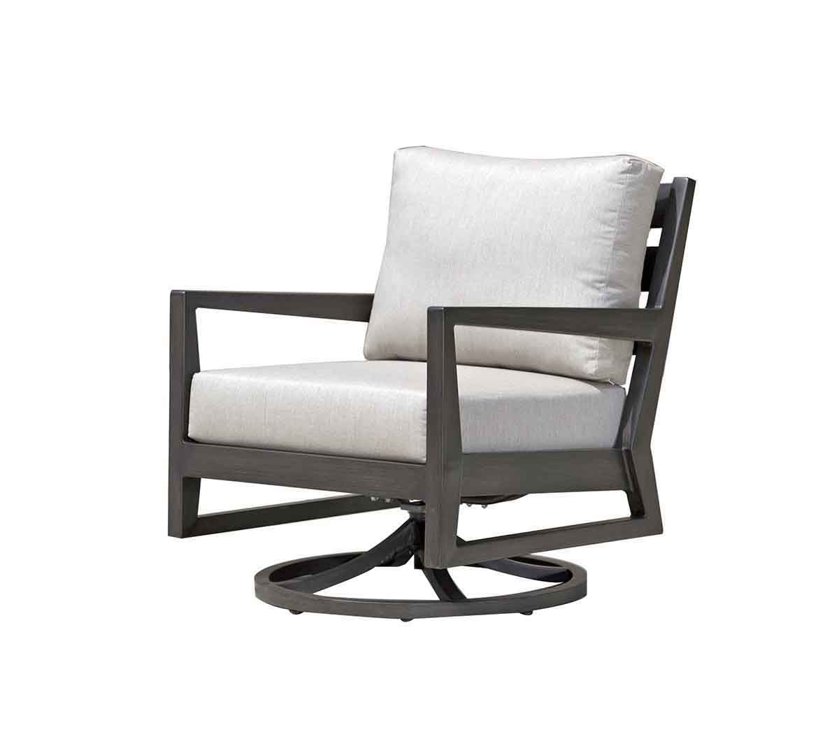 Lucia swivel rocker patio chair in metal frame with light grey cushions.