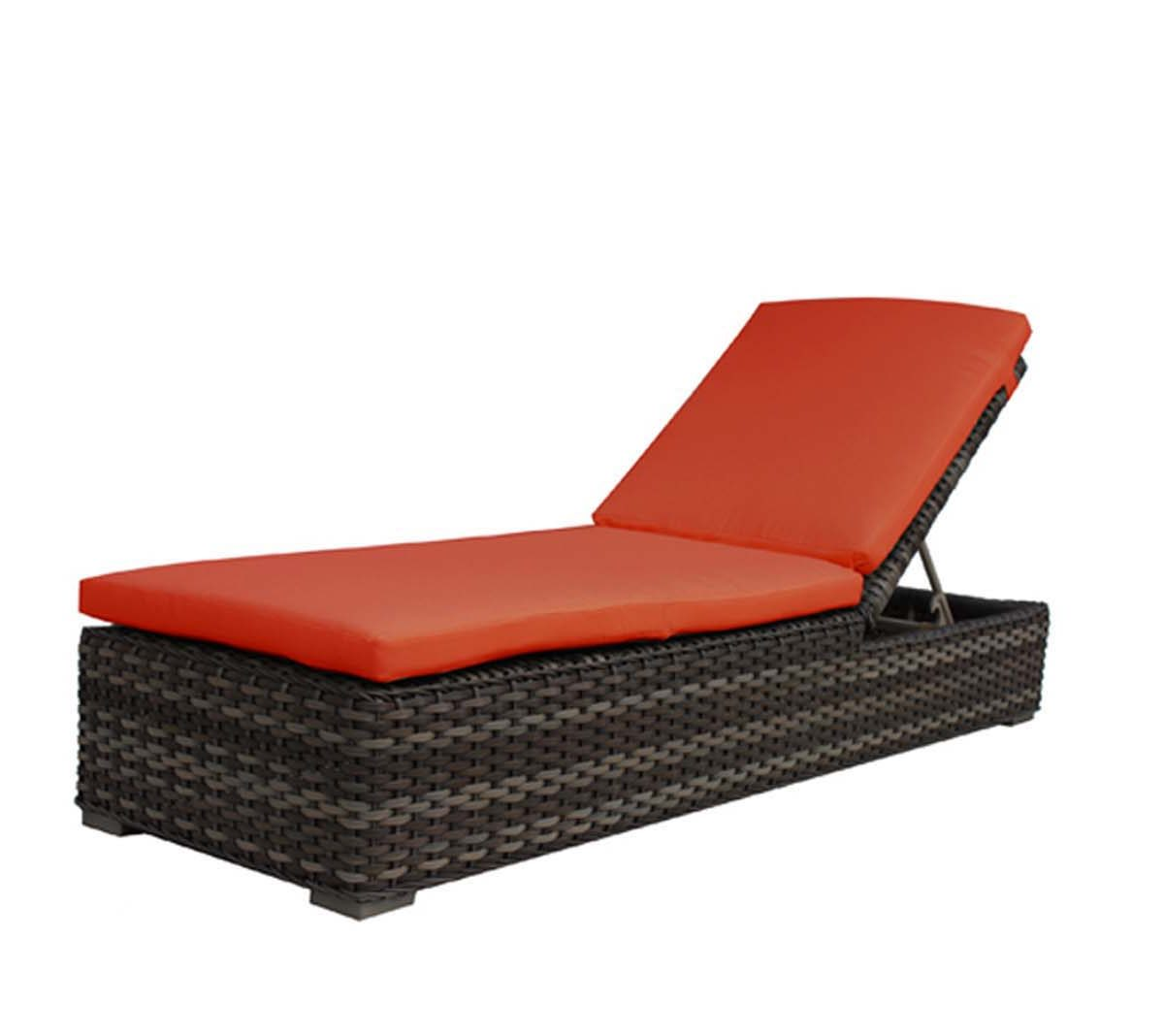 Nottigham adjustable lounger in taupe color wicker with orange cushion.