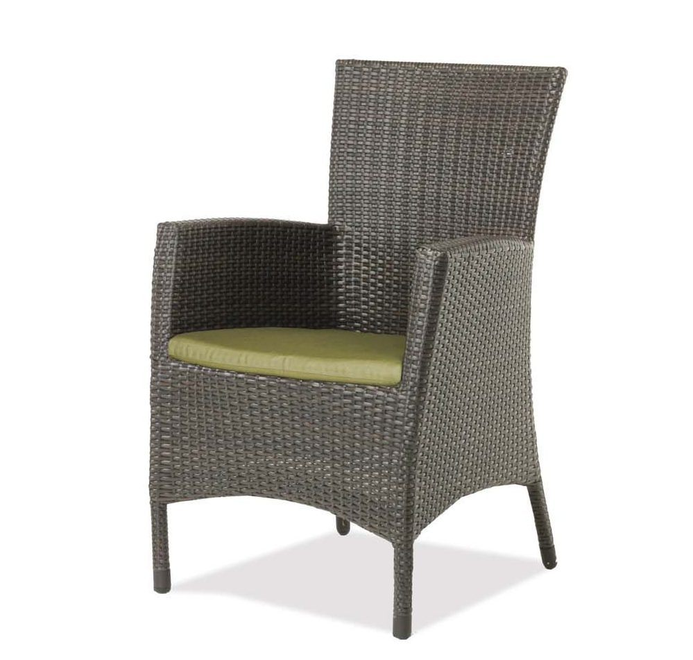 palm harbor dining arm chair in espresso wicker with green cushion.