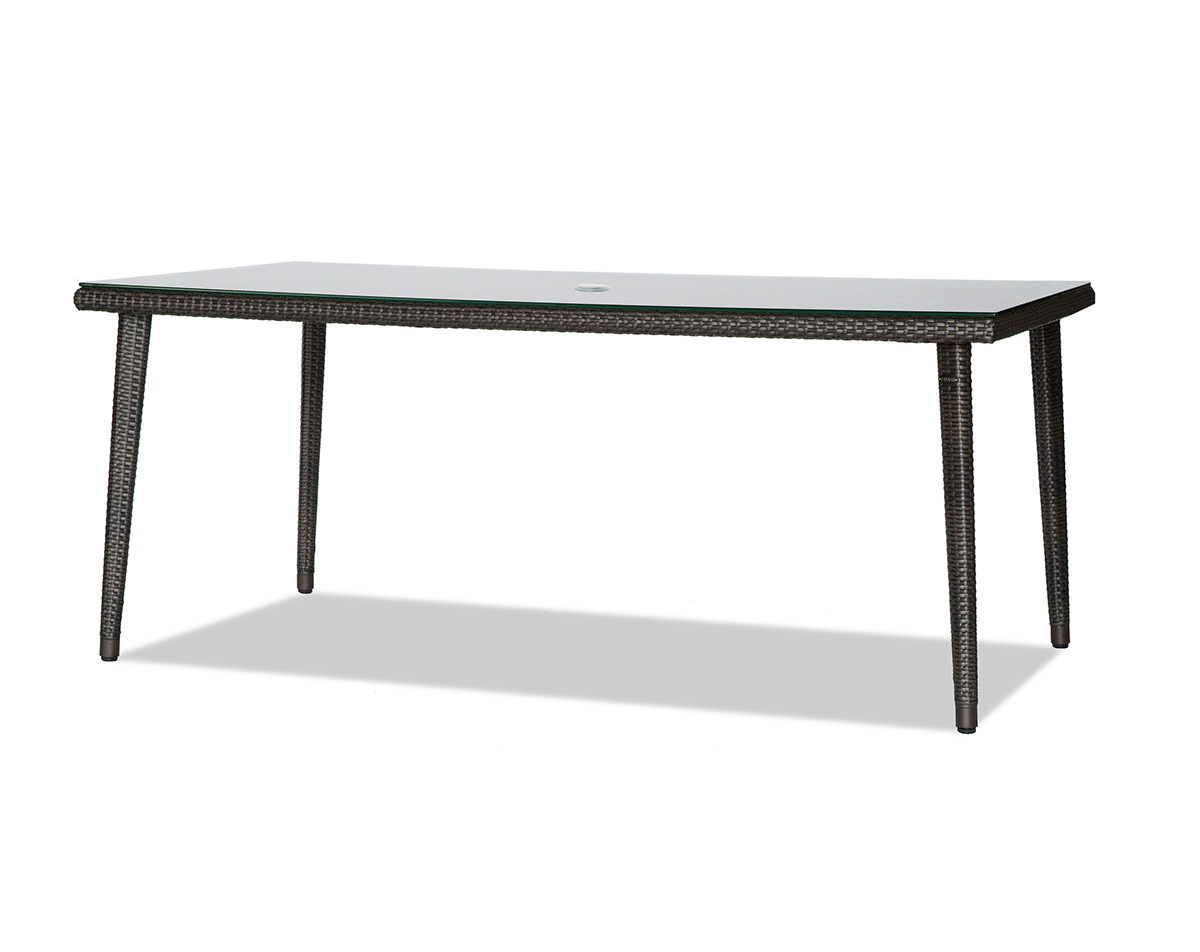 Palm Harbor rectangular table with glass top and umbrella hole.