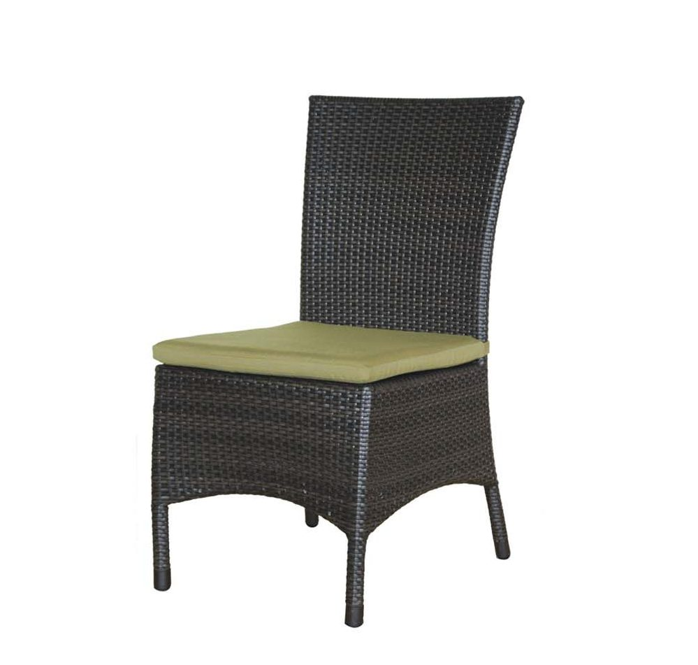 Palm Harbor dining side chair in espresso color with green seat cushion.