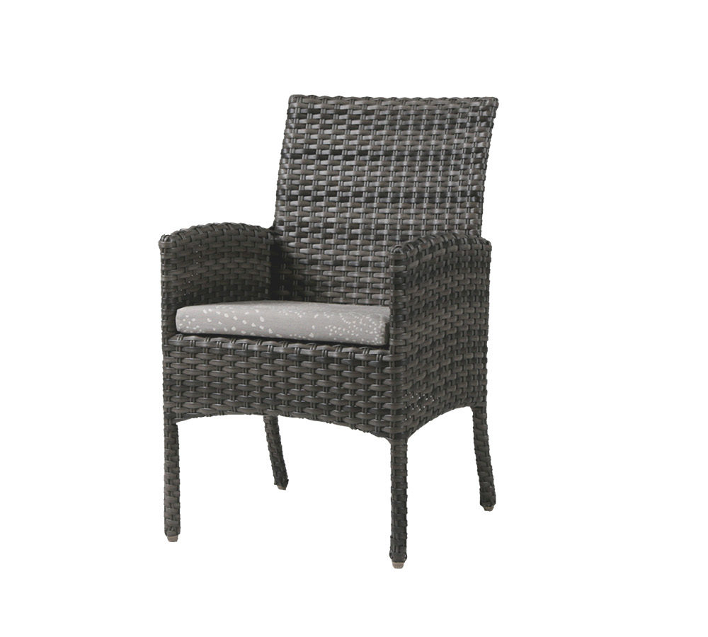 Portofino dining arm chair in grey with patterned cushion.