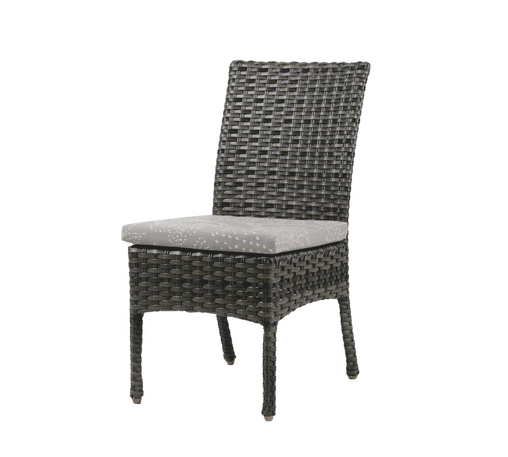 portofino dining side chair in grey wicker with light seat cushion.