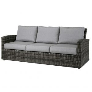 The Portofino sofa by Ratana in grey wicker with light grey cushions.