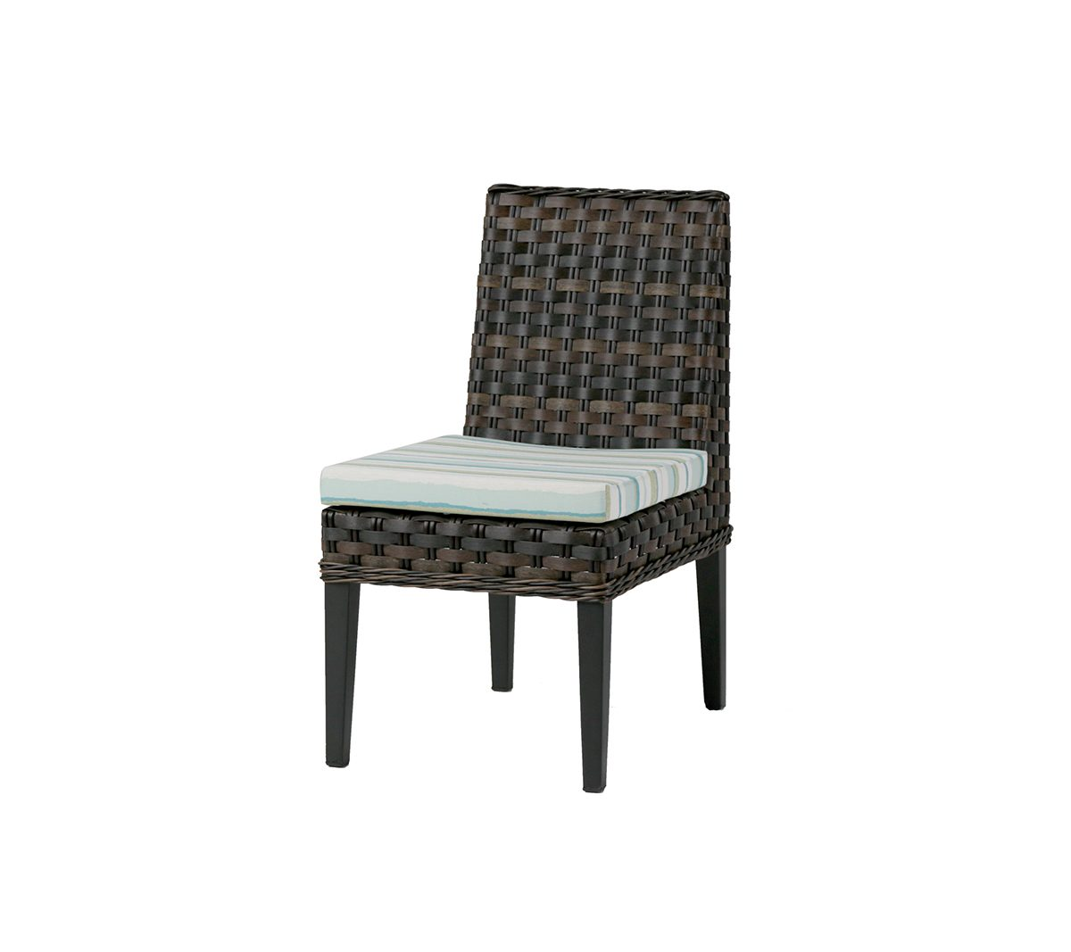 San Sebastian side chair in brown wicker with striped seat cushion.