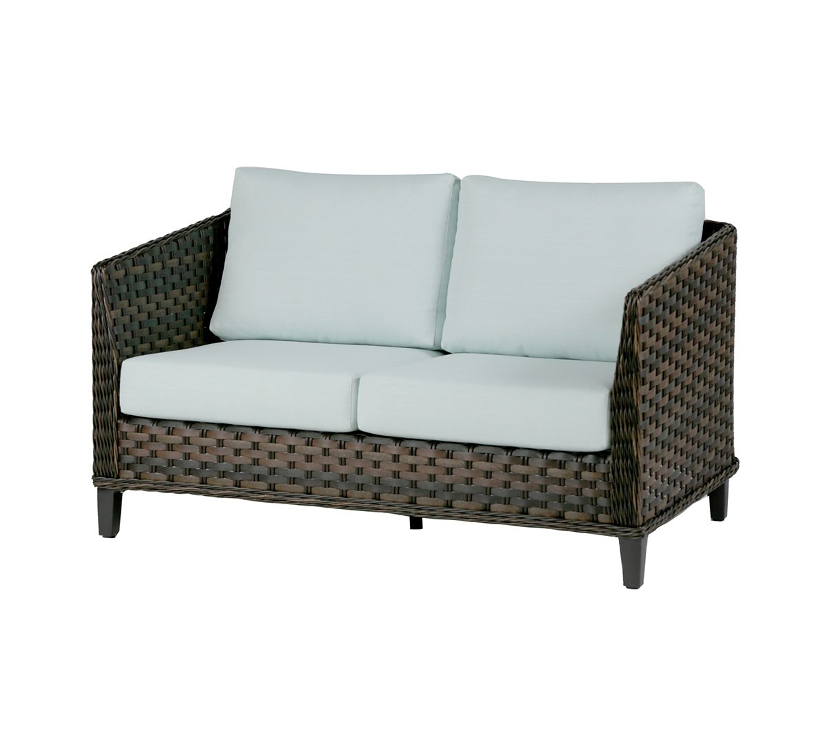 San Sebastian loveseat in brown wicker with light blue cushions.