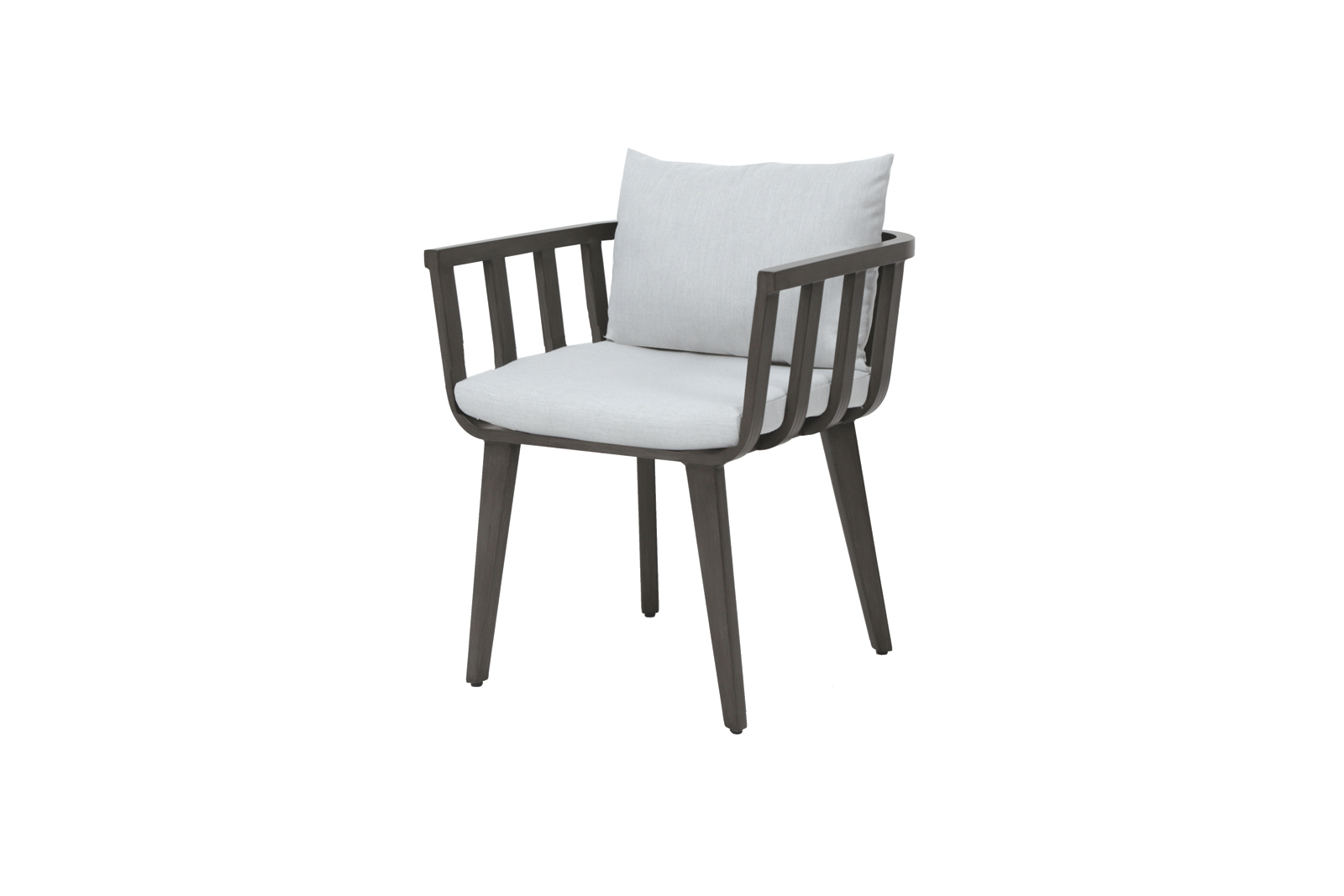 The Seville dining arm chair in metal frame with light colored cushions.
