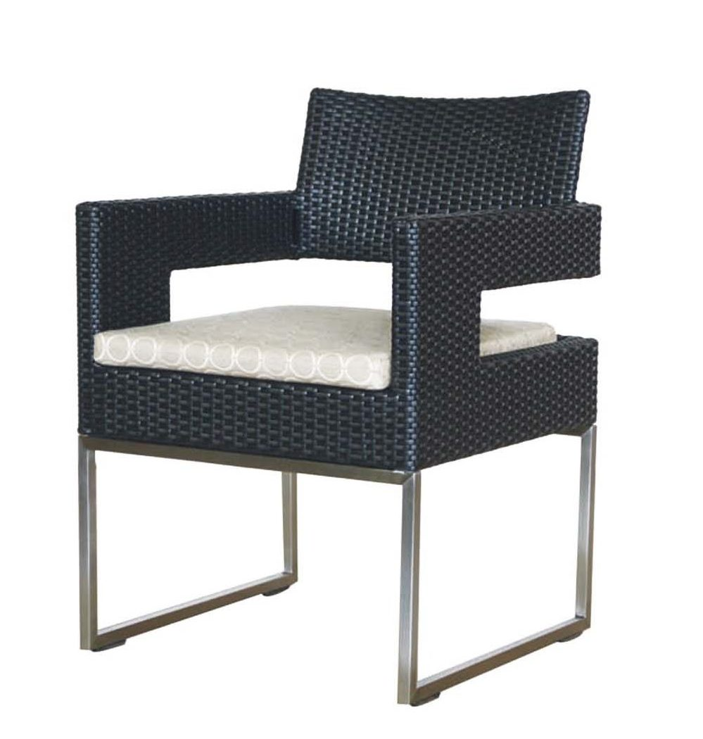Modern looking Vilano dining arm chair with metal legs, black frame and light color cushion.