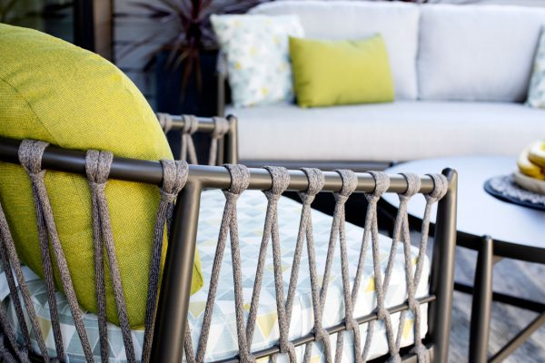 back shot of the lamego chair, rope design with metal frame and cushions.