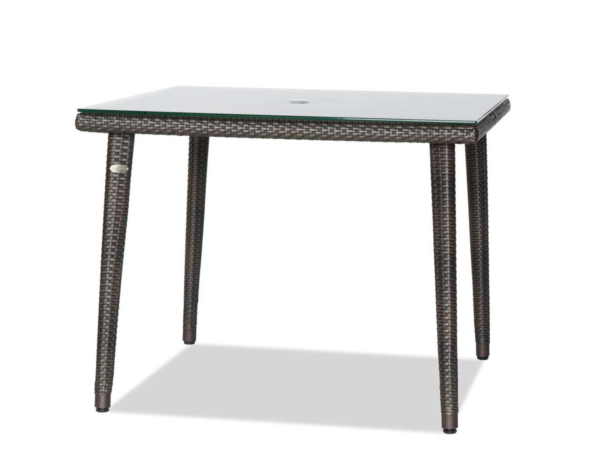 palm harbor square table in espresso color with glass top.