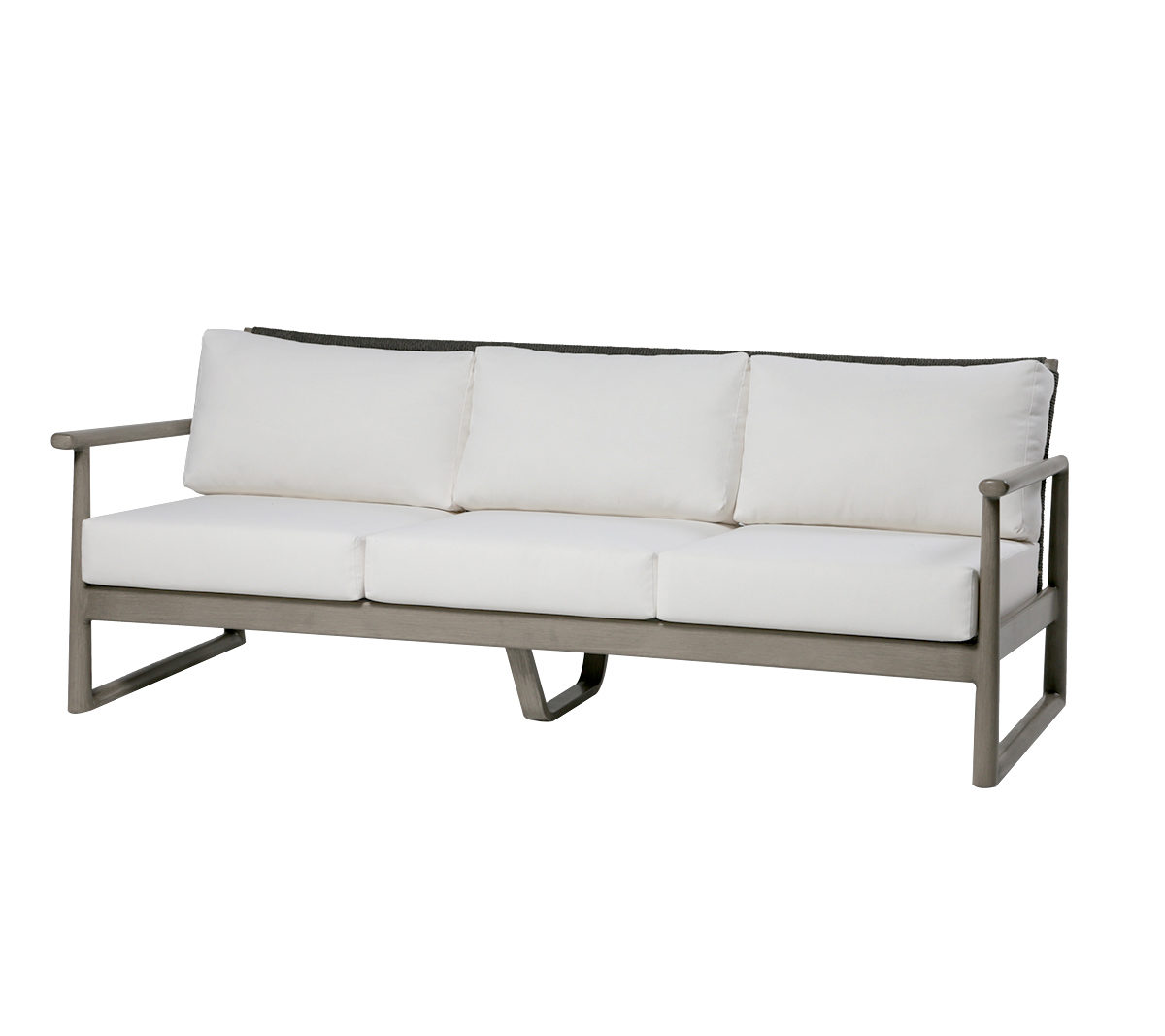 Park West sofa in grey metal frame with cream cushions.